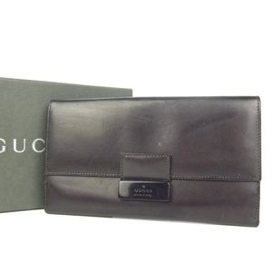Auth Gucci Leather Bifold Long Wallet #1062G20